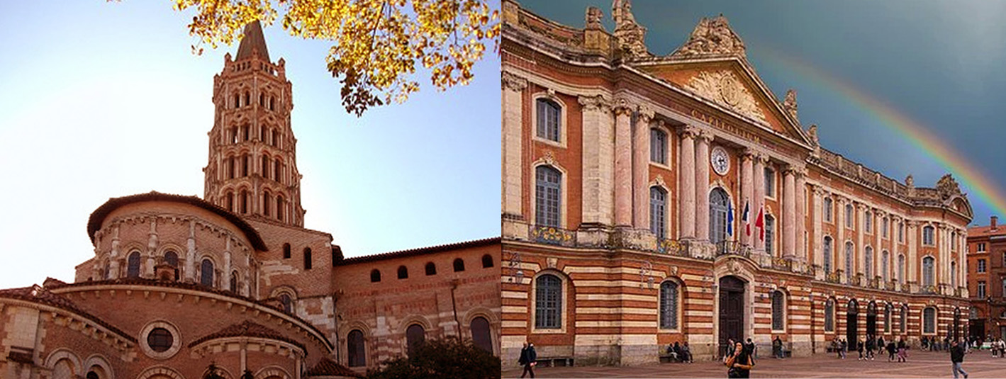 Photographs of Toulouse monuments. Left is he Basilique Saint-Sernain and right the Capitole.